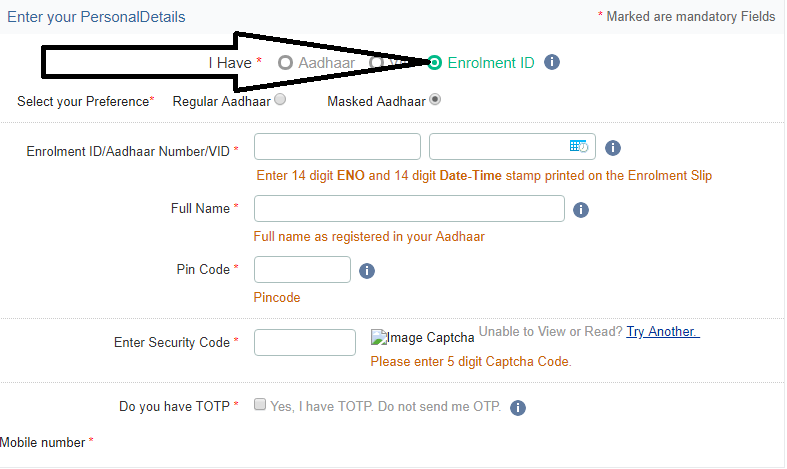 Aadhar card download by enrolment id