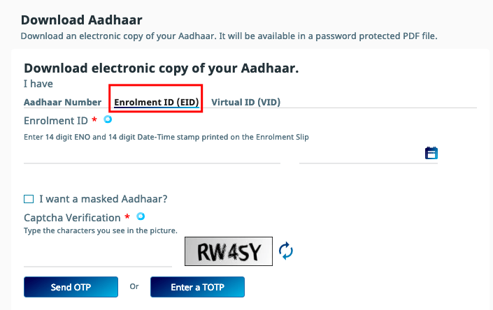 E Aadhar Download