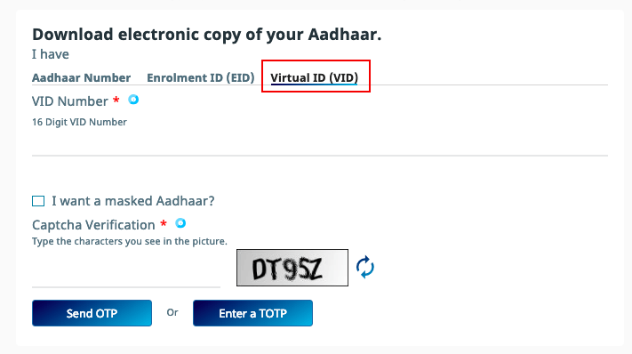 Download E Aadhar Card