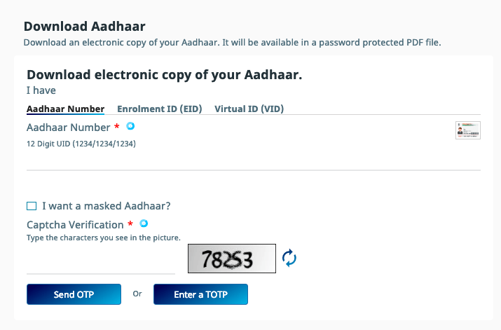 E Aadhar card download