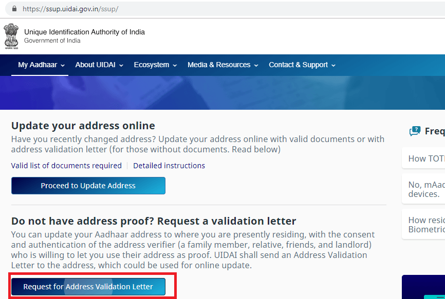 Aadhar Update Without validation Address