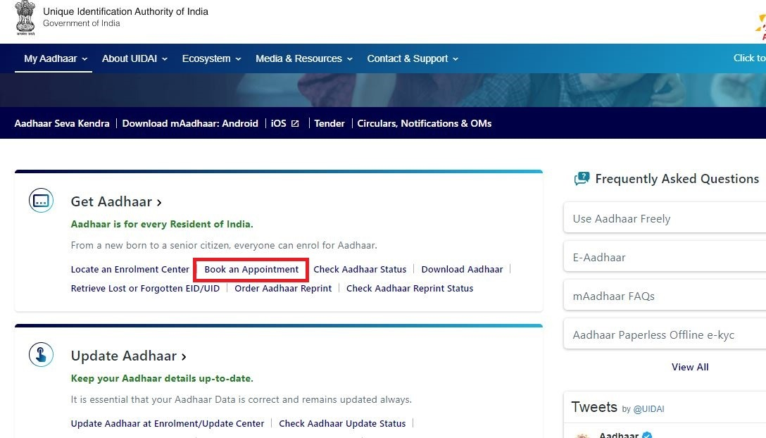 aadhar online appointment book